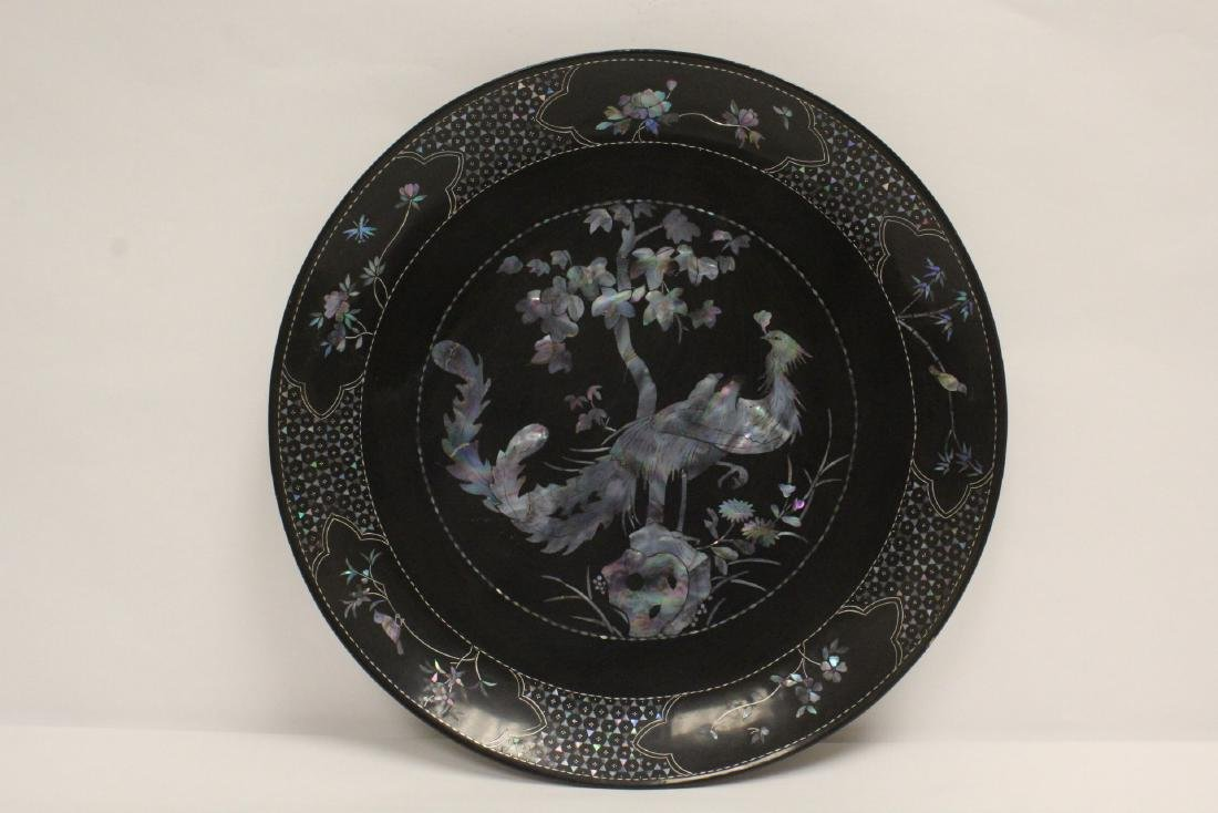 2 lacquer plates with mother of pearl inlaid - 3