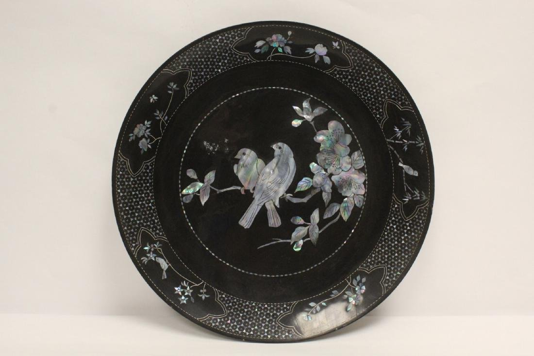 2 lacquer plates with mother of pearl inlaid - 7