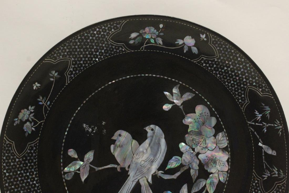 2 lacquer plates with mother of pearl inlaid - 8