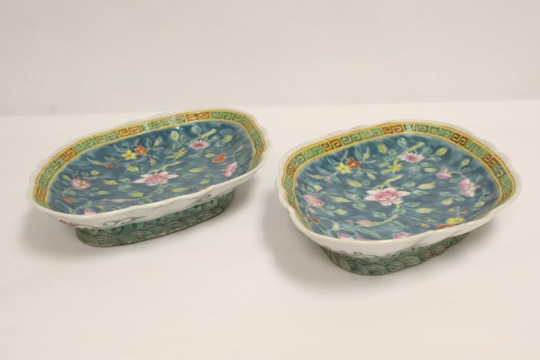 Pr Chinese antique famille rose porcelain plates - 10
