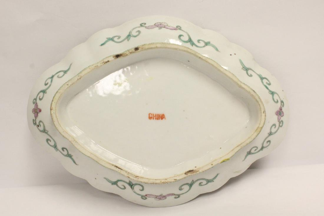 Pr Chinese antique famille rose porcelain plates - 5
