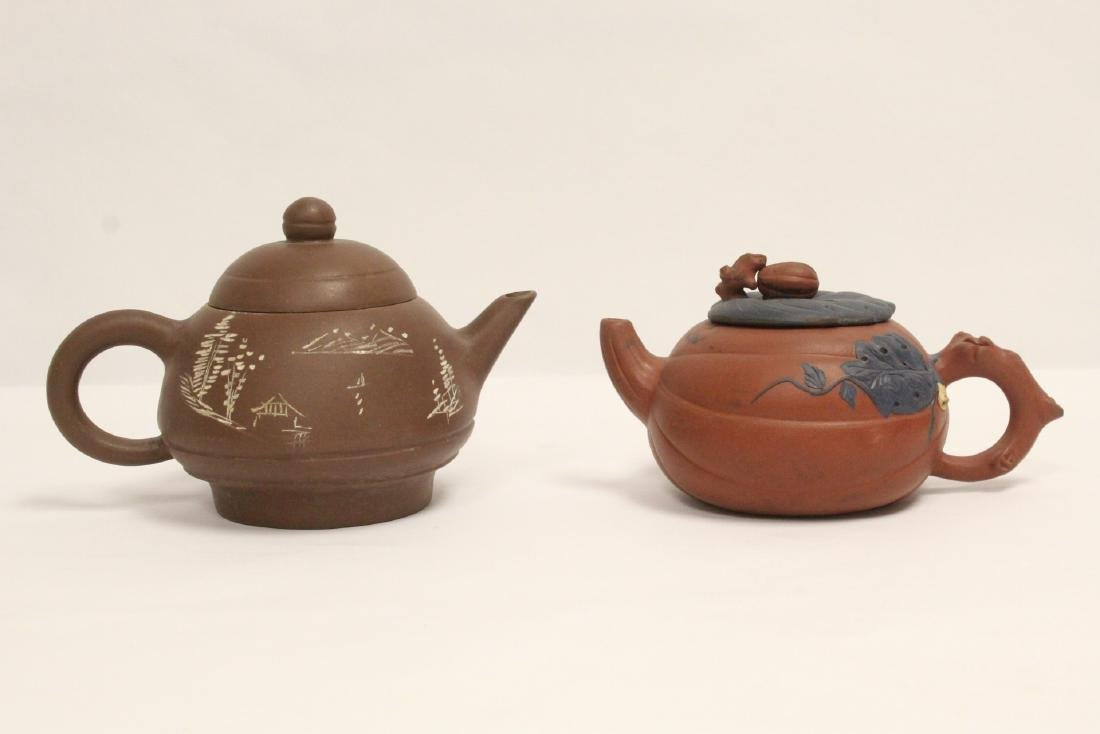 2 Chinese Yixing teapots