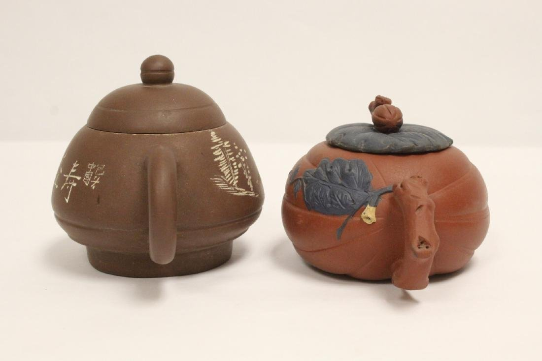 2 Chinese Yixing teapots - 3