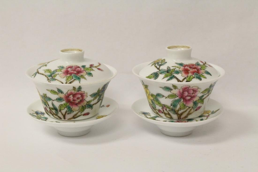 Pr Chinese famille rose porcelain covered tea bowls