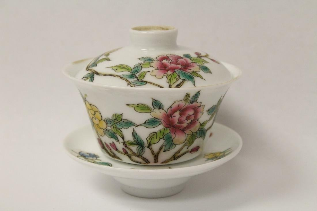 Pr Chinese famille rose porcelain covered tea bowls - 6
