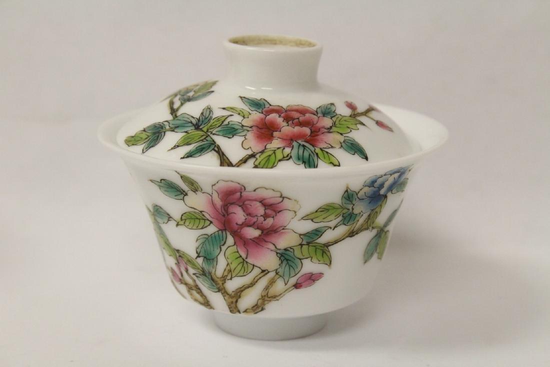 Pr Chinese famille rose porcelain covered tea bowls - 7