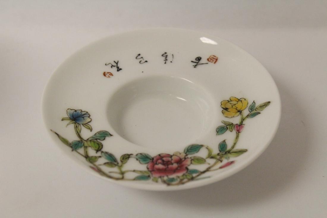 Pr Chinese famille rose porcelain covered tea bowls - 8