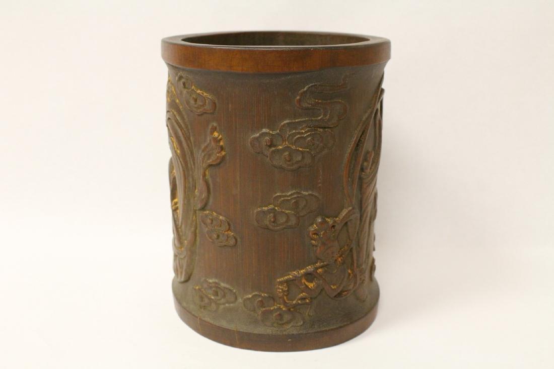 A fine bamboo carved brush holder - 3