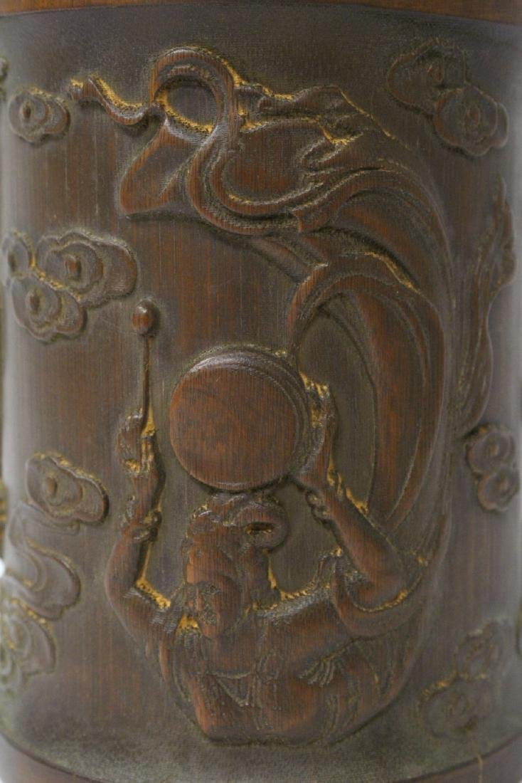 A fine bamboo carved brush holder - 7