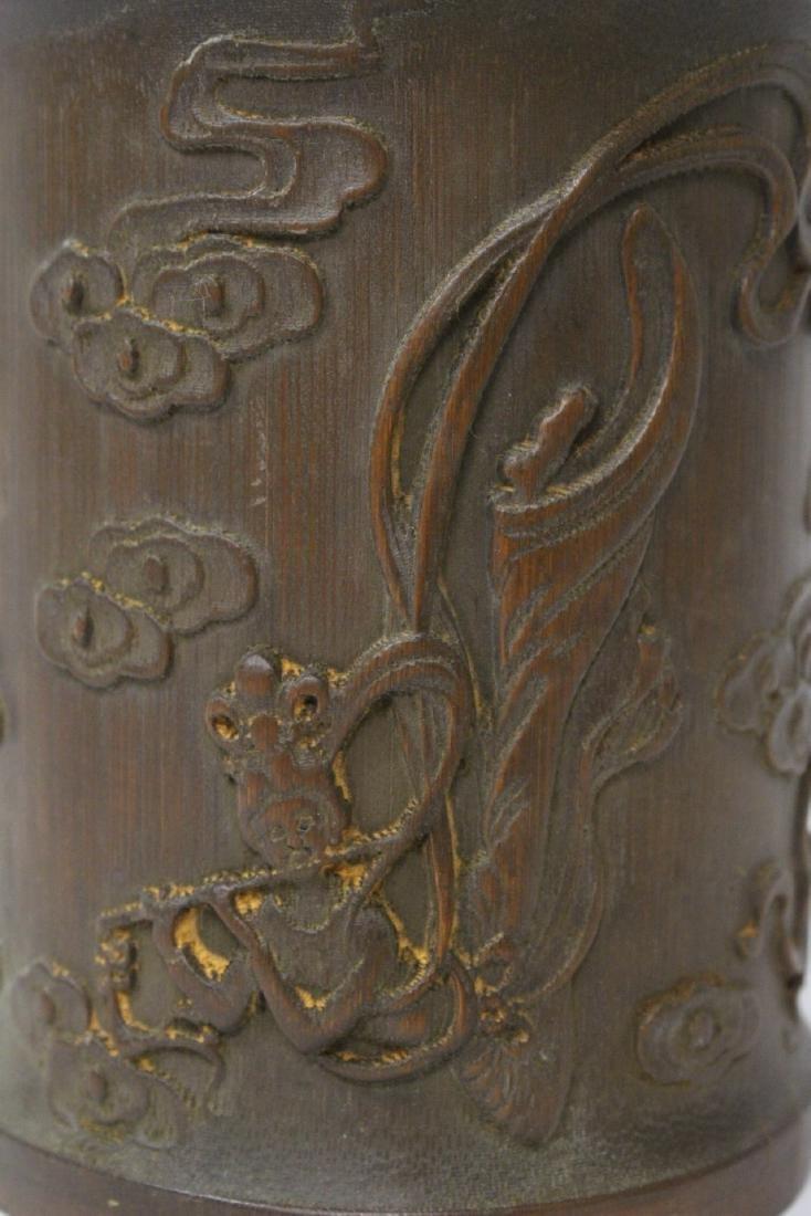 A fine bamboo carved brush holder - 8