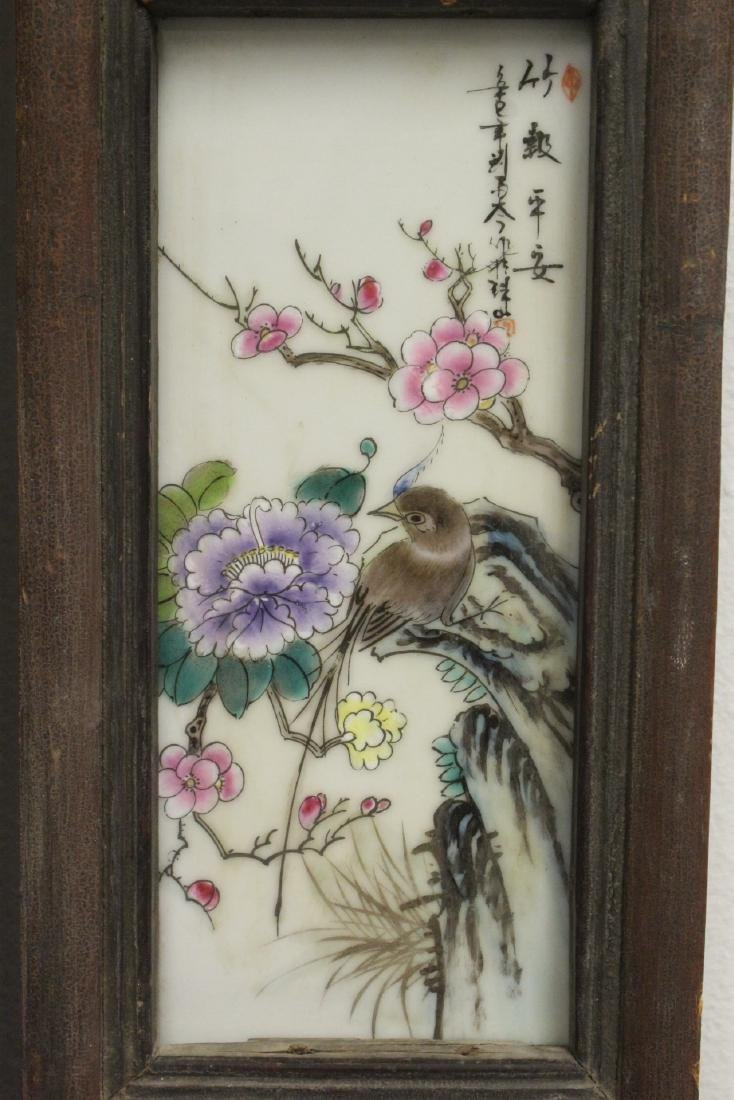 Pair Chinese vintage framed porcelain plaques - 6