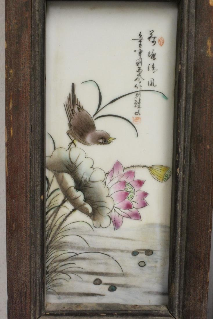 Pair Chinese vintage framed porcelain plaques - 8