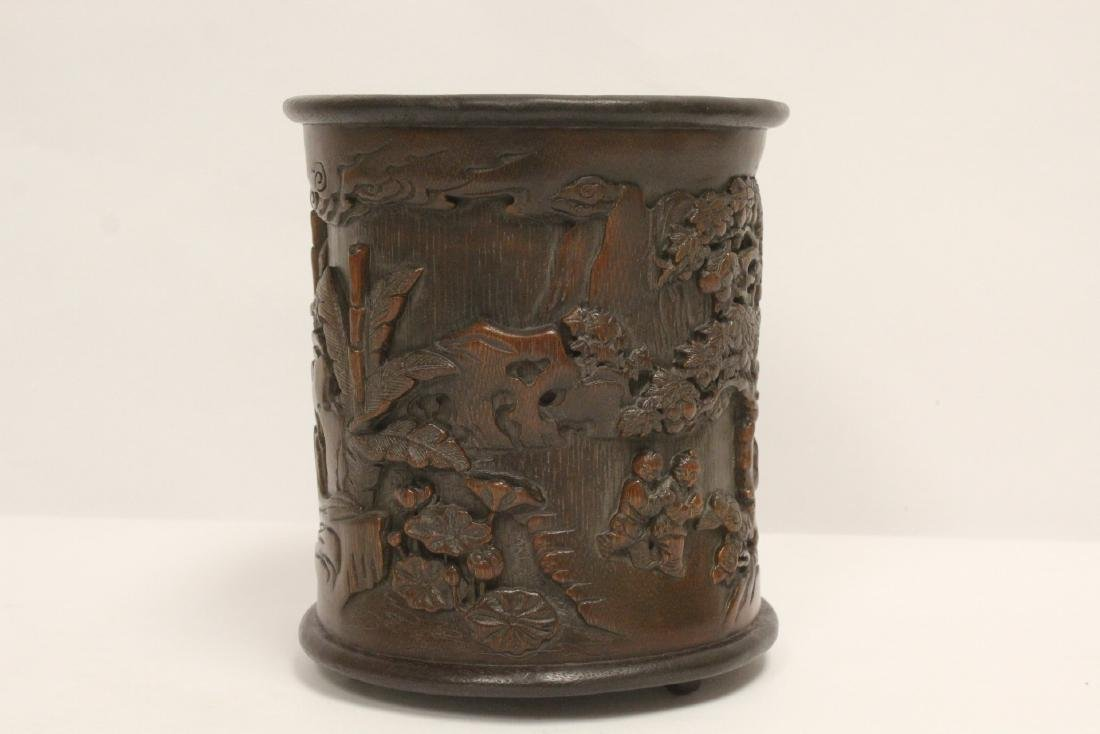 A finely carved bamboo brush holder - 3
