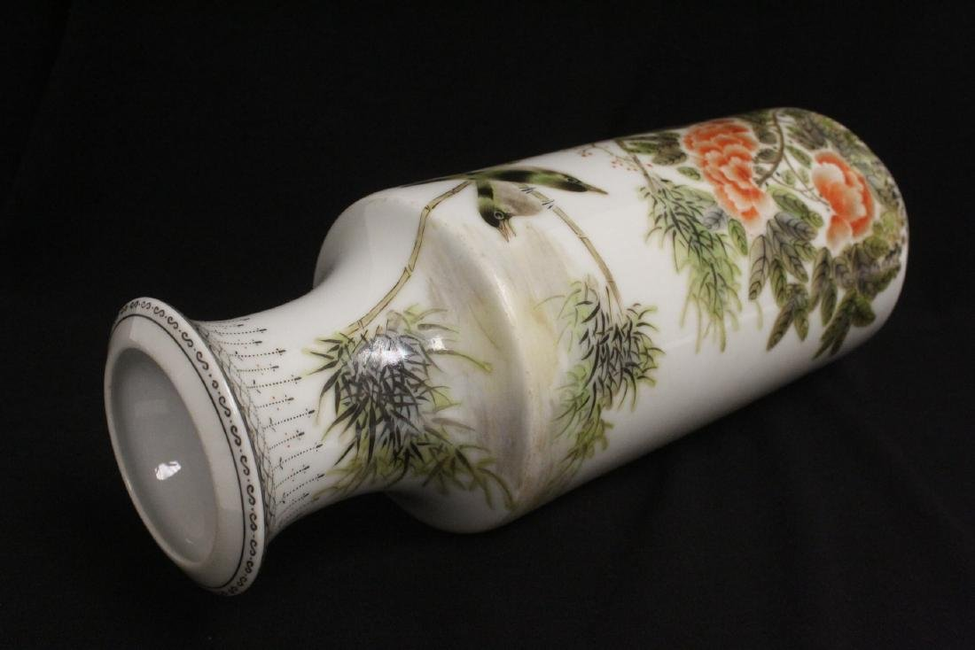 Chinese famille rose porcelain straight vase - 10