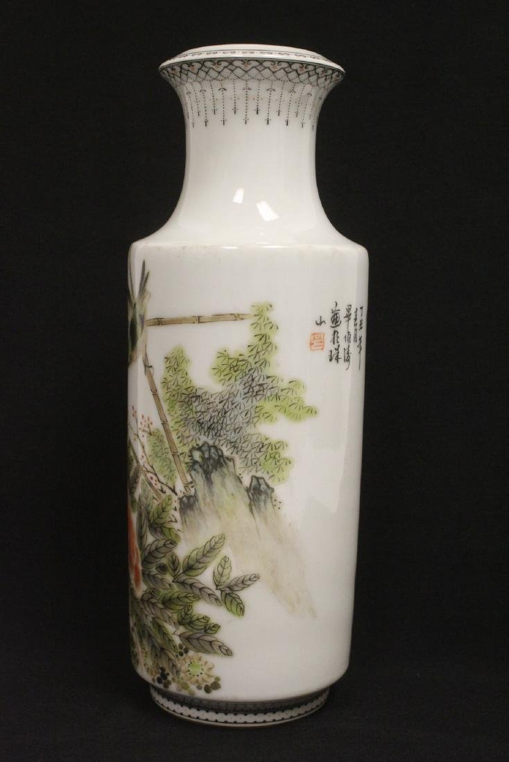 Chinese famille rose porcelain straight vase - 2