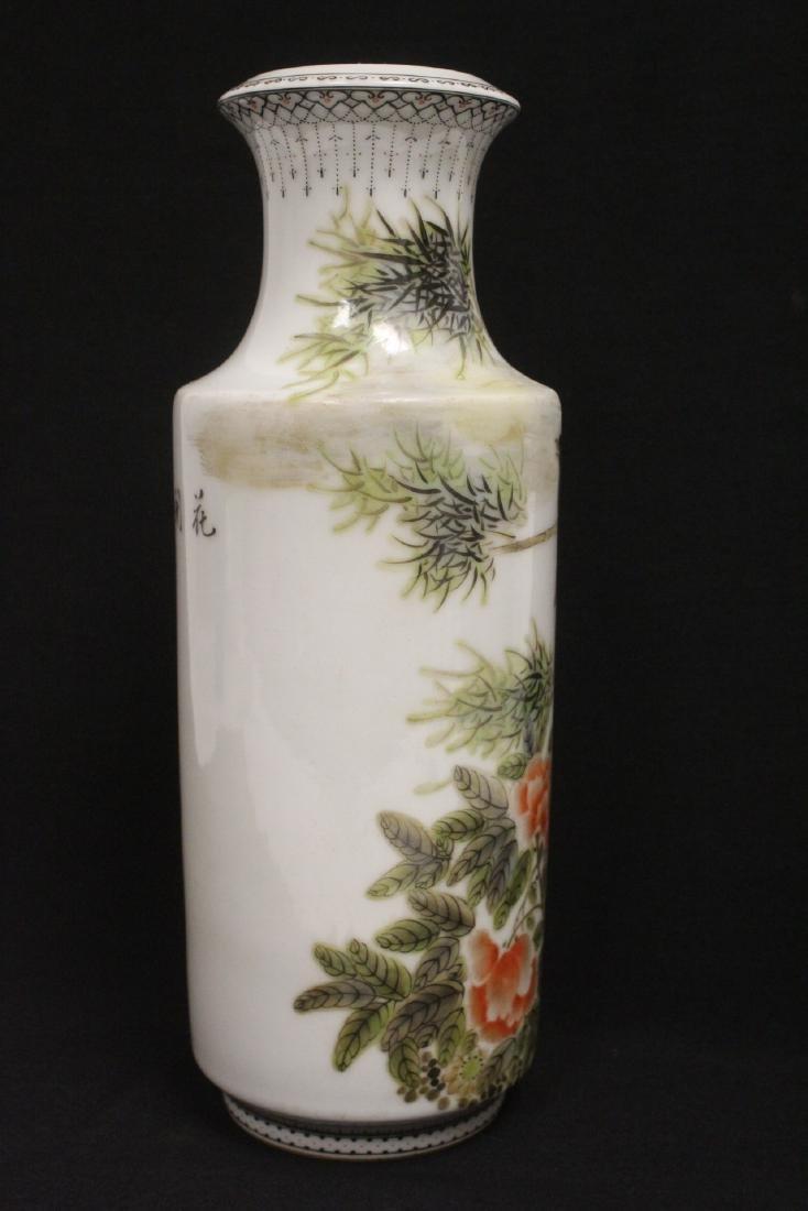 Chinese famille rose porcelain straight vase - 4