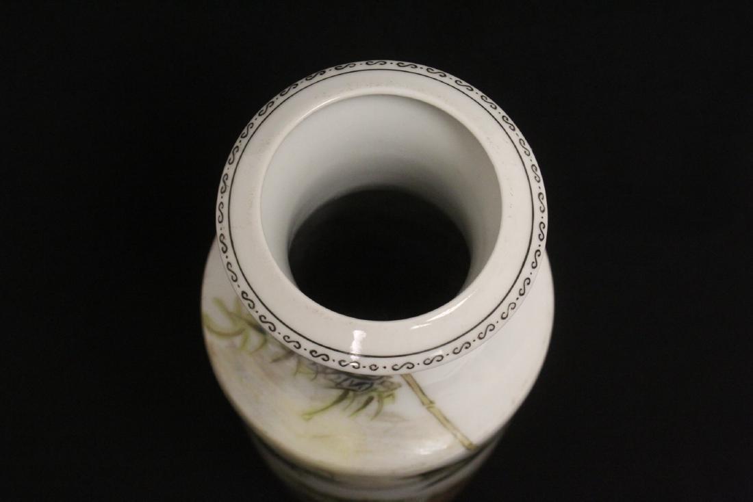 Chinese famille rose porcelain straight vase - 5