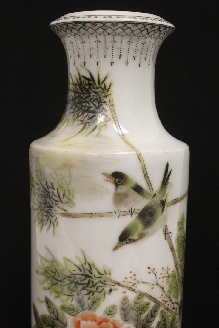 Chinese famille rose porcelain straight vase - 6