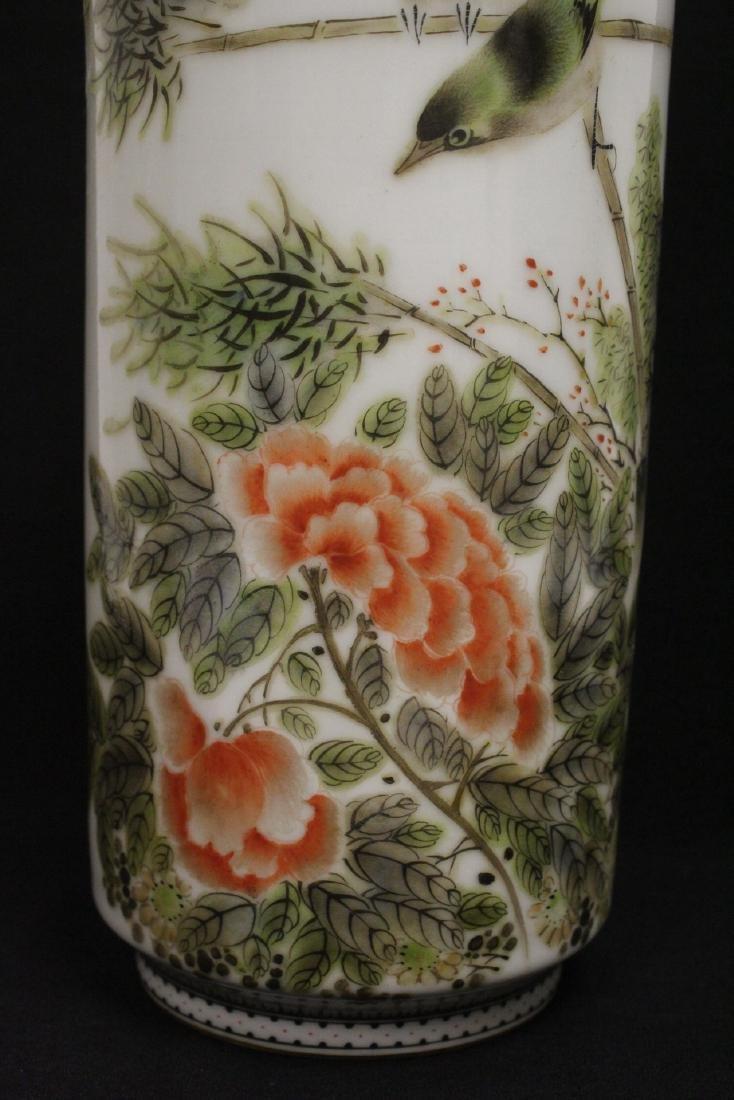 Chinese famille rose porcelain straight vase - 7