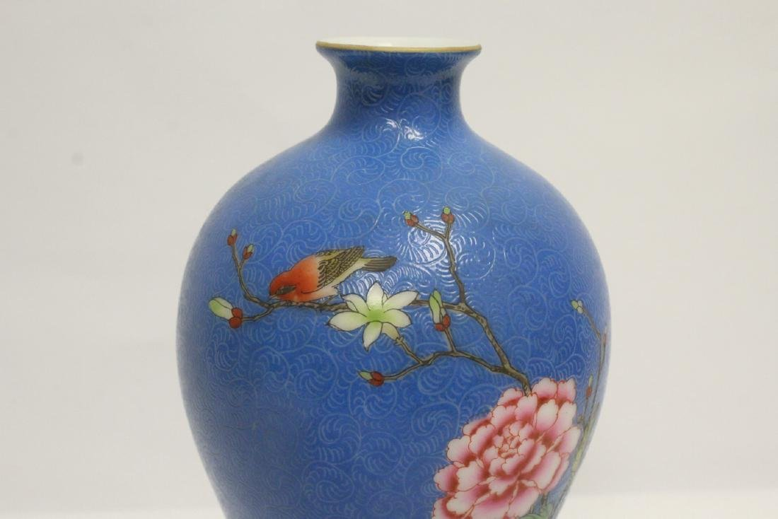 blue background famille rose porcelain jar - 6