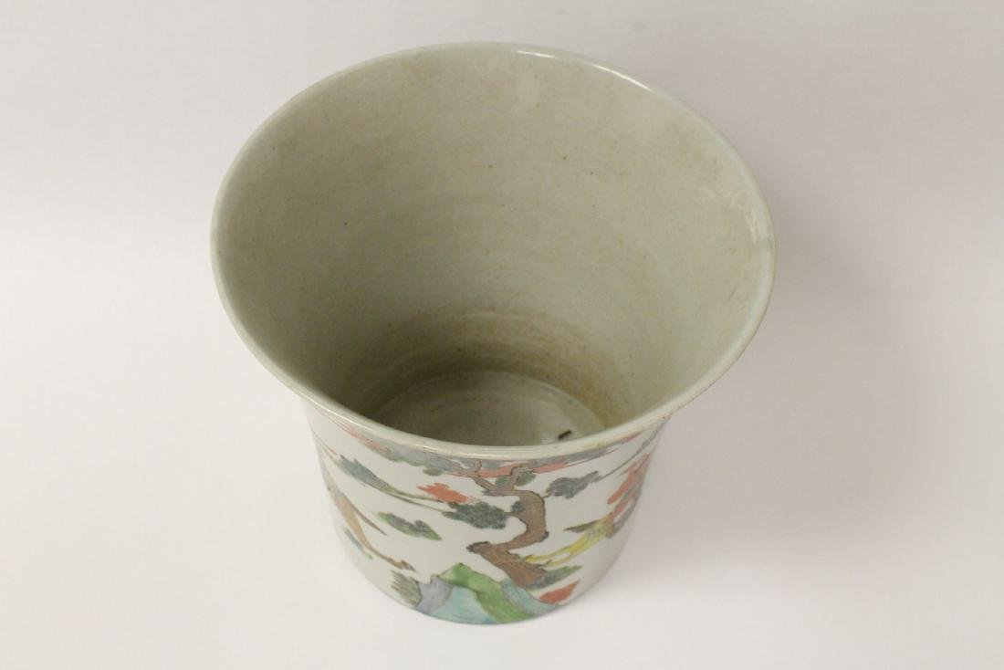 Chinese vintage famille rose porcelain planter - 9