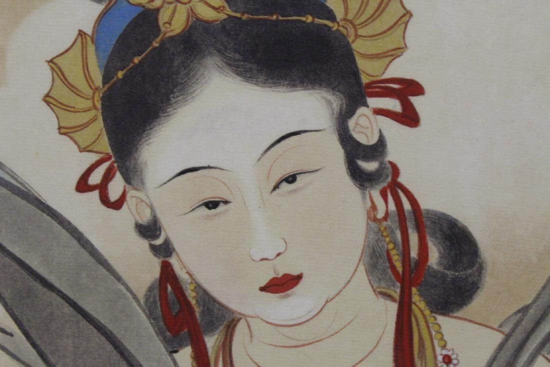 "Framed watercolor ""Guanyin with calligraphy"" - 10"
