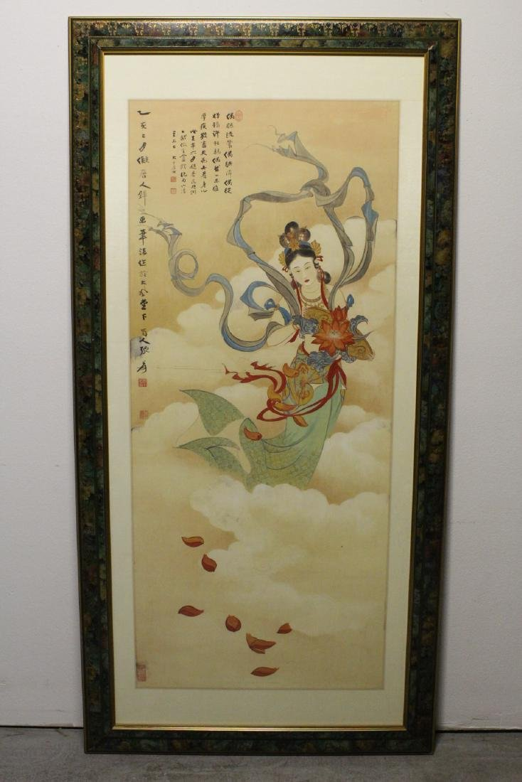 "Framed watercolor ""Guanyin with calligraphy"""