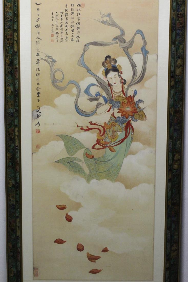 "Framed watercolor ""Guanyin with calligraphy"" - 2"