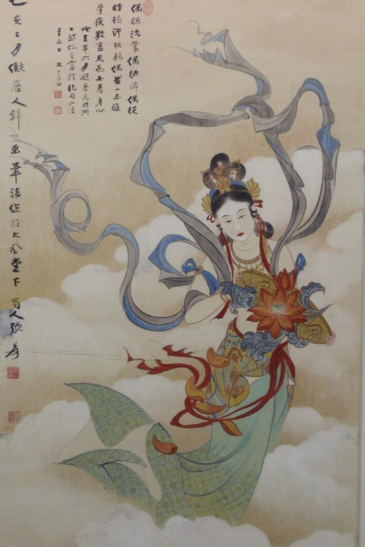 "Framed watercolor ""Guanyin with calligraphy"" - 3"