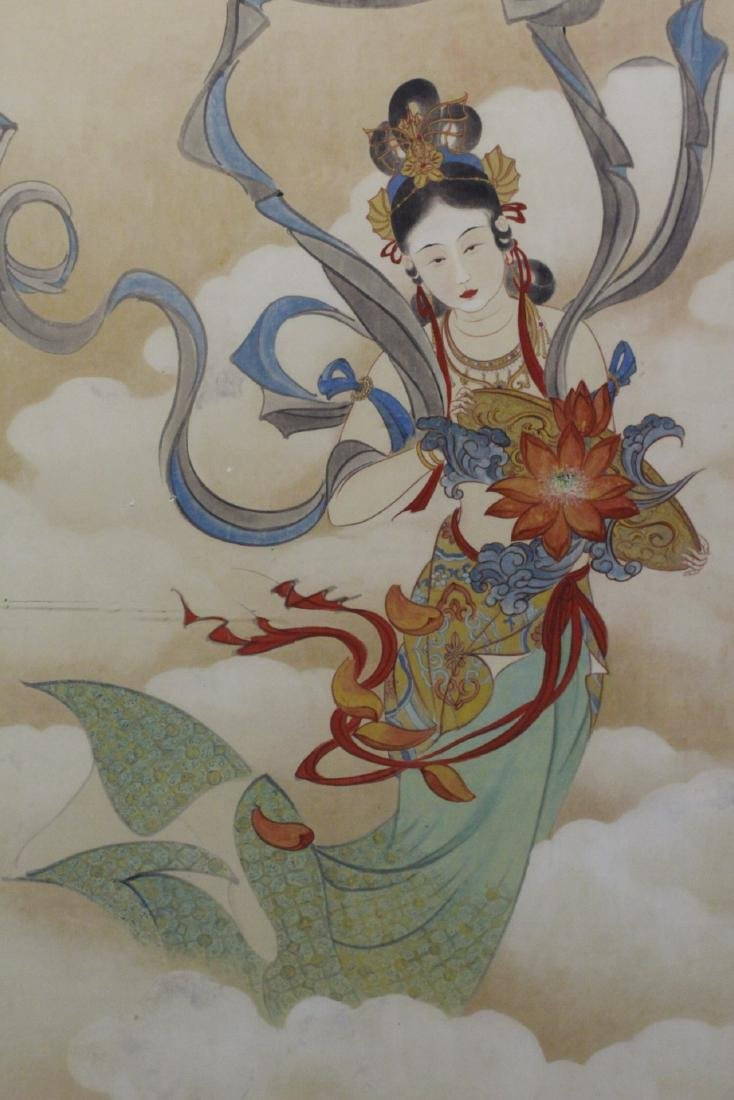 "Framed watercolor ""Guanyin with calligraphy"" - 5"