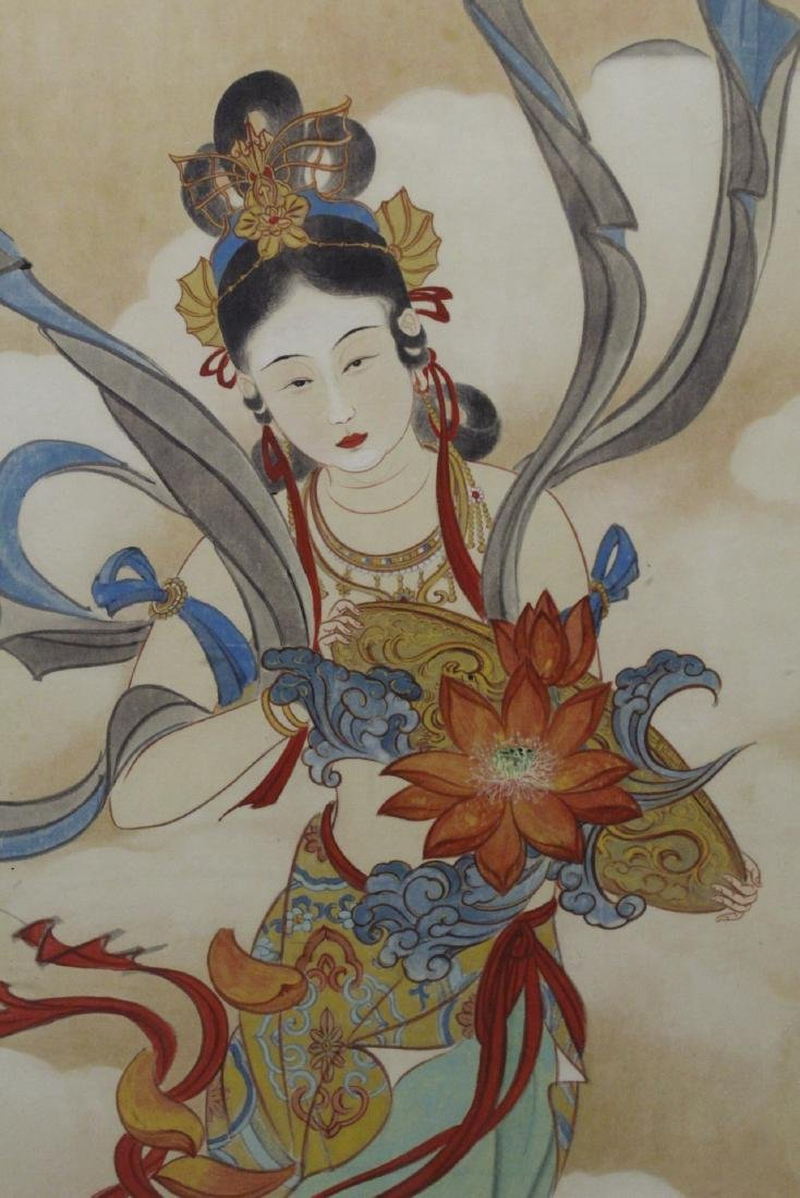"Framed watercolor ""Guanyin with calligraphy"" - 7"