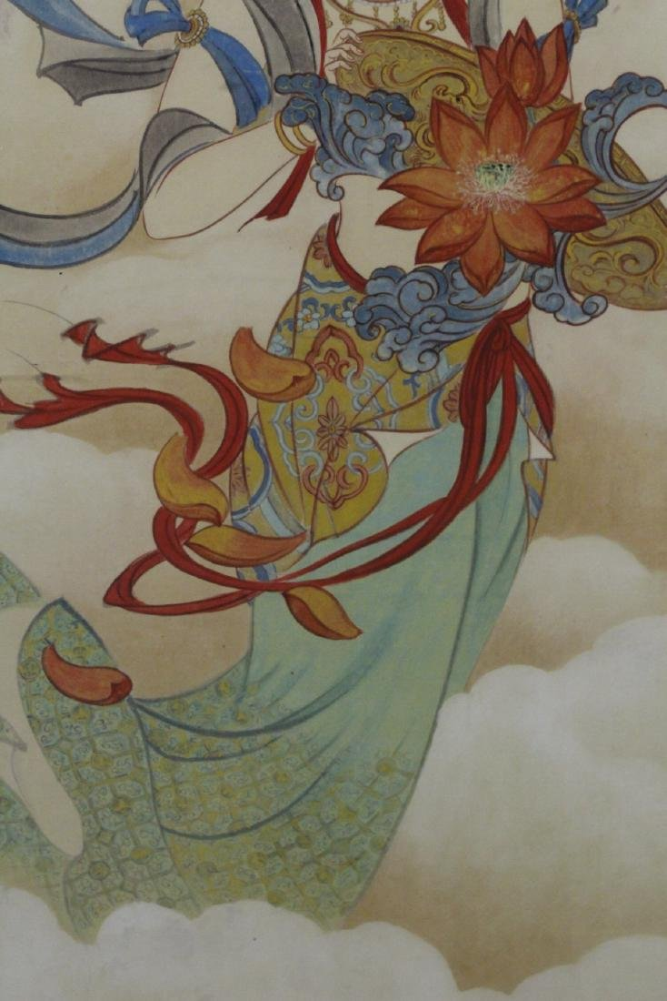 "Framed watercolor ""Guanyin with calligraphy"" - 8"