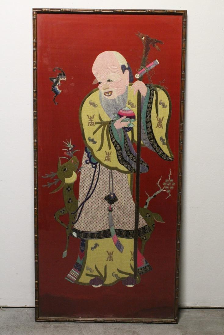 "Large embroidery panel ""god of longevity"""
