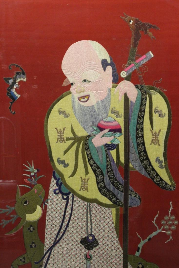 "Large embroidery panel ""god of longevity"" - 4"