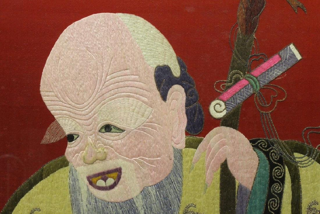 "Large embroidery panel ""god of longevity"" - 6"