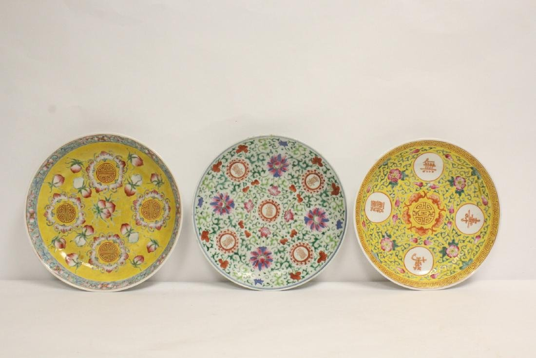 3 Chinese vintage famille rose porcelain plates