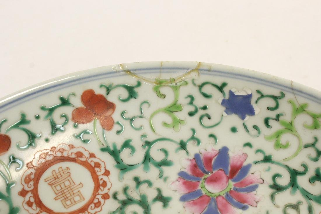 3 Chinese vintage famille rose porcelain plates - 6