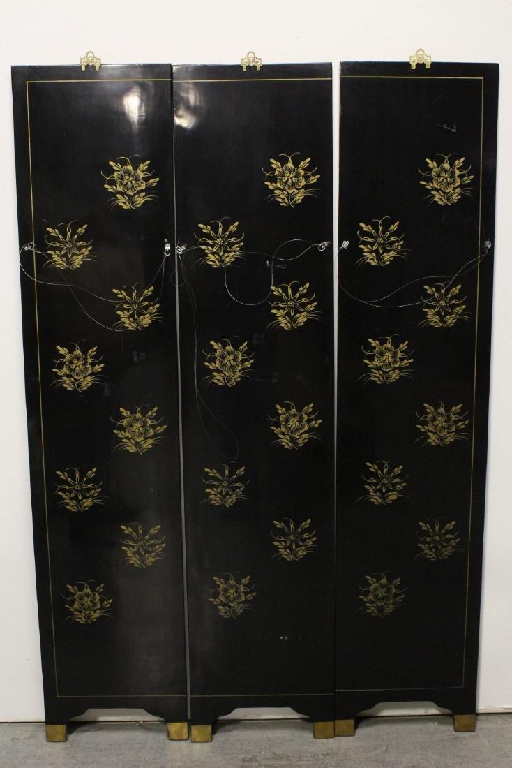 3 Chinese coromandel panels with stone overlay - 10