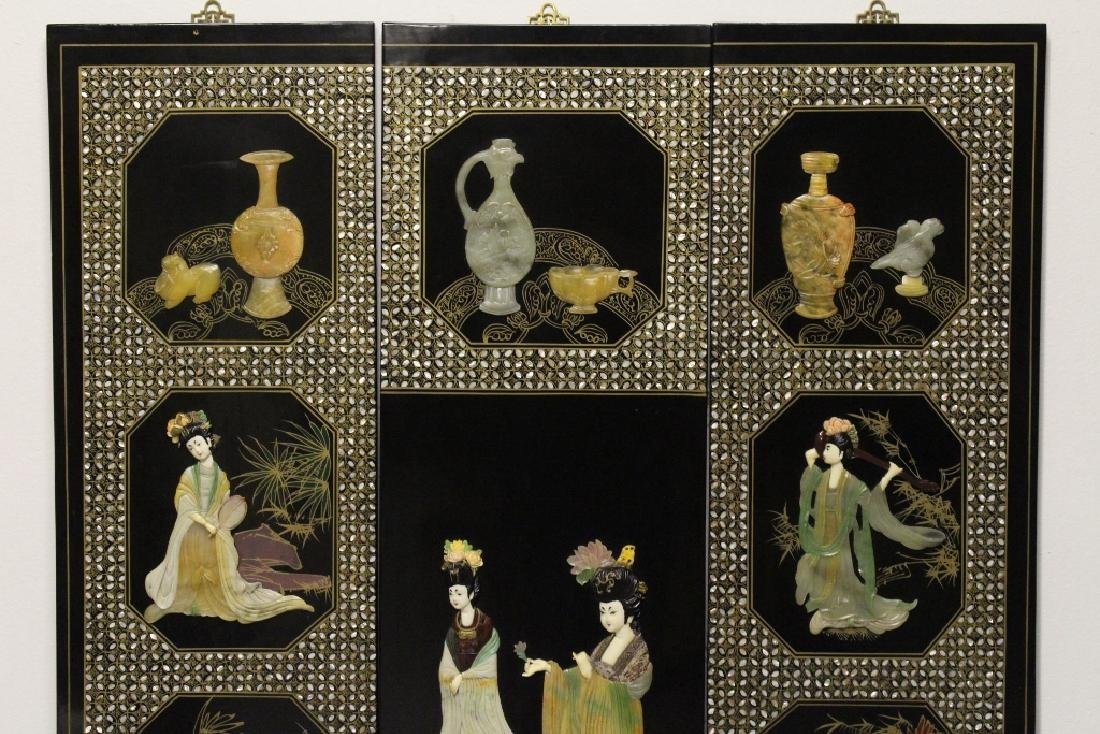 3 Chinese coromandel panels with stone overlay - 2