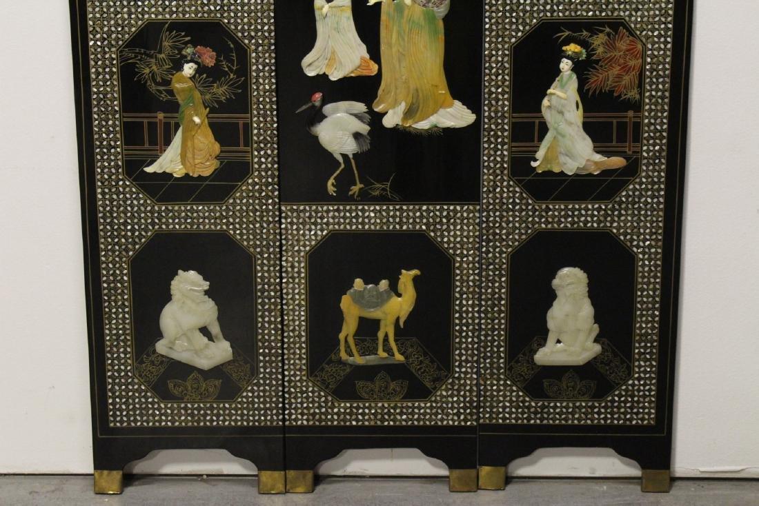 3 Chinese coromandel panels with stone overlay - 3