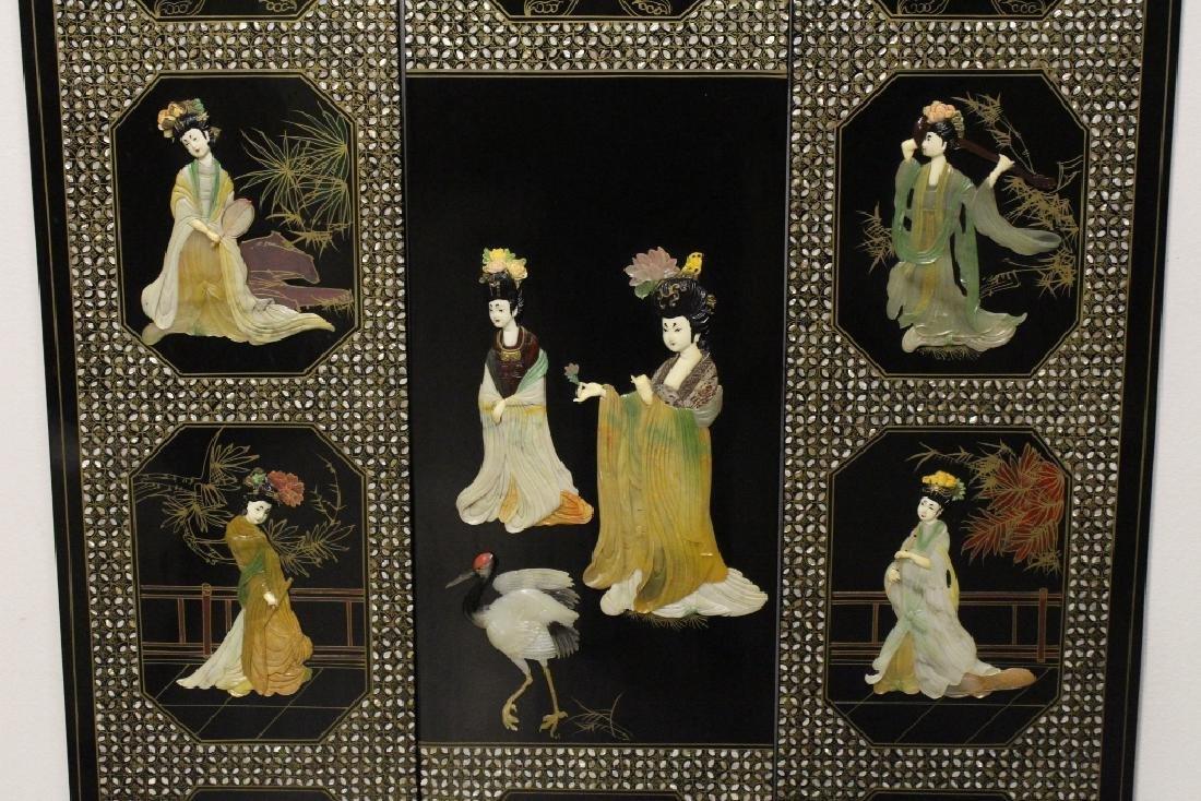 3 Chinese coromandel panels with stone overlay - 4