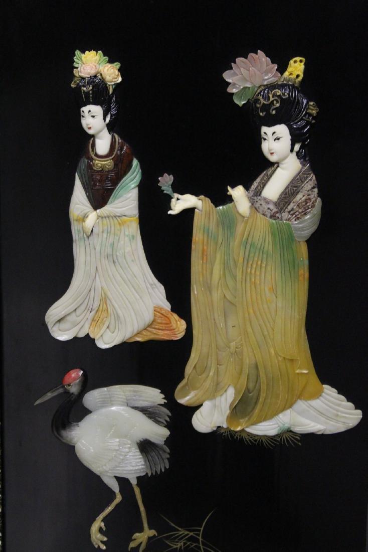 3 Chinese coromandel panels with stone overlay - 5