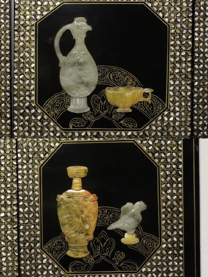 3 Chinese coromandel panels with stone overlay - 7