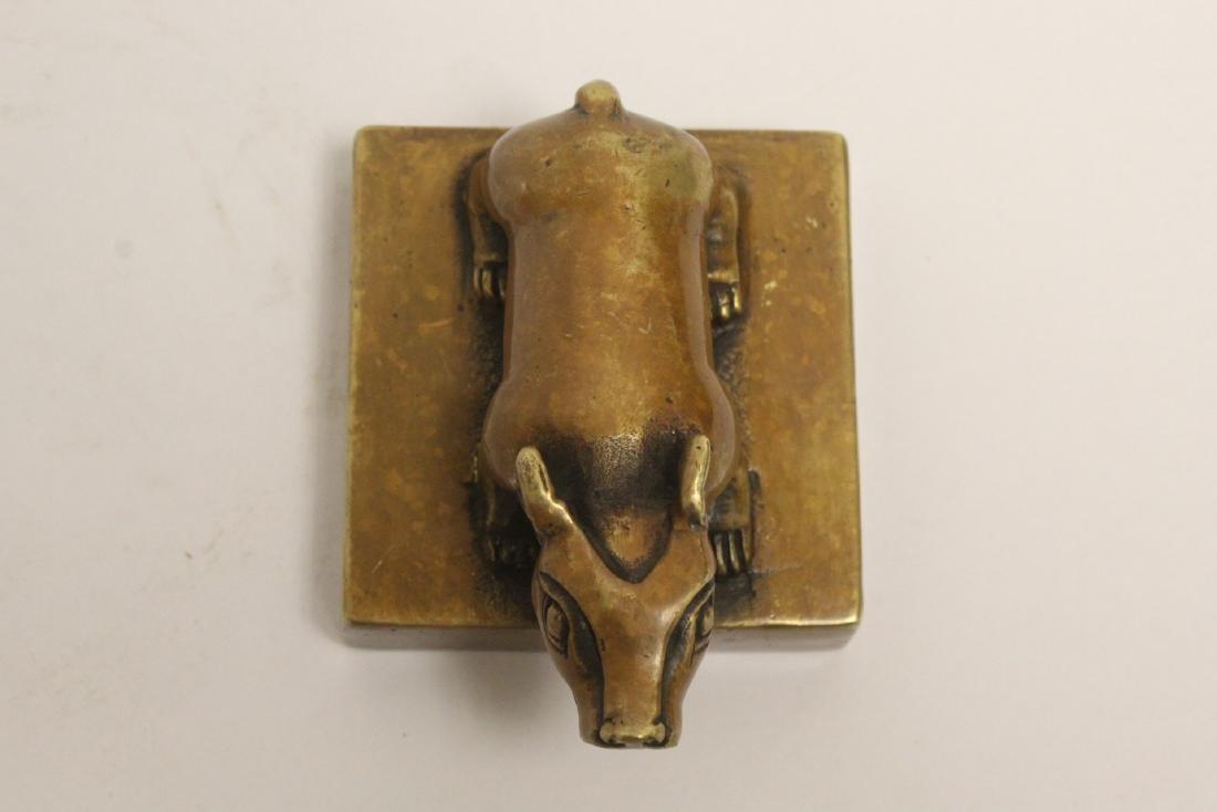 A bronze seal with buffalo finial - 7