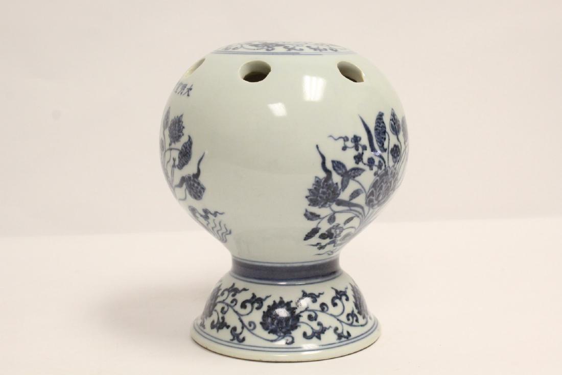Chinese blue and white porcelain censer - 2