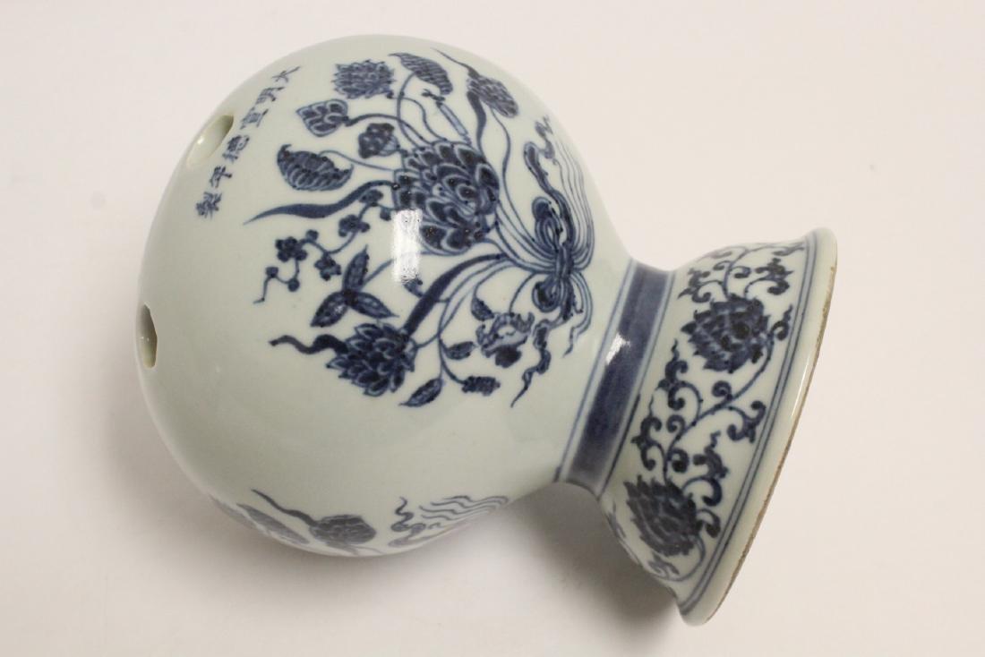 Chinese blue and white porcelain censer - 9