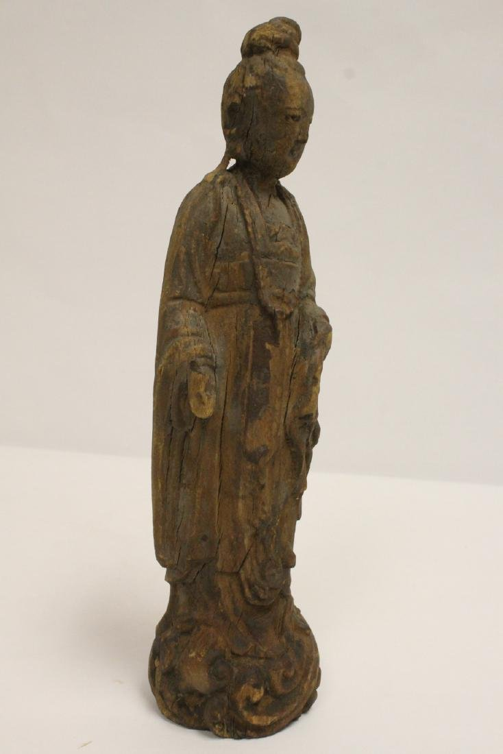 Chinese wood carved Guanyin - 10