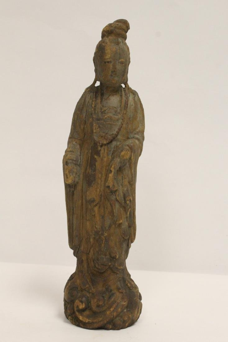 Chinese wood carved Guanyin