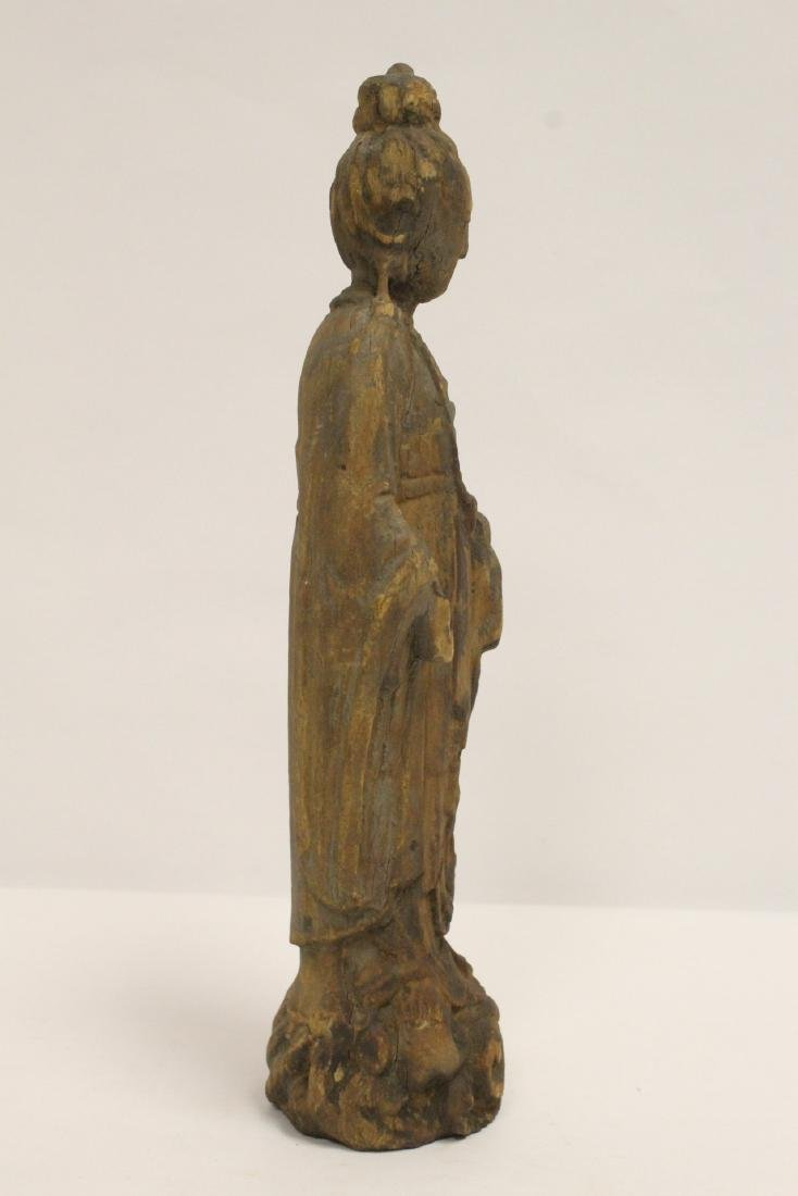 Chinese wood carved Guanyin - 4