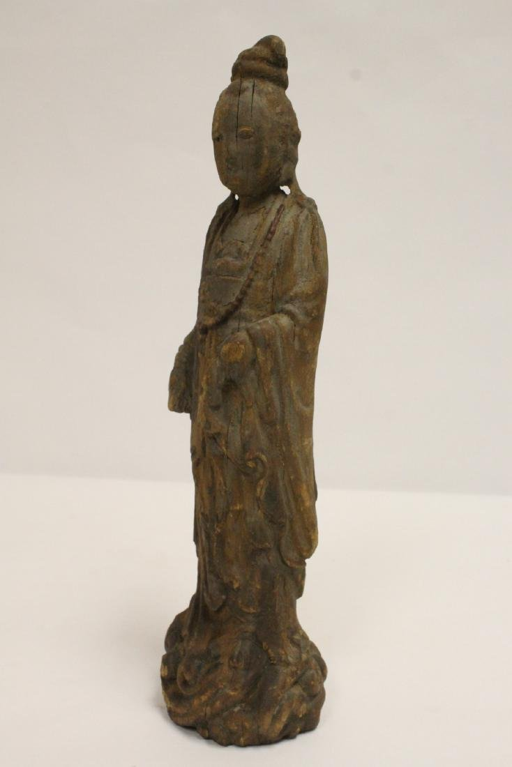 Chinese wood carved Guanyin - 9